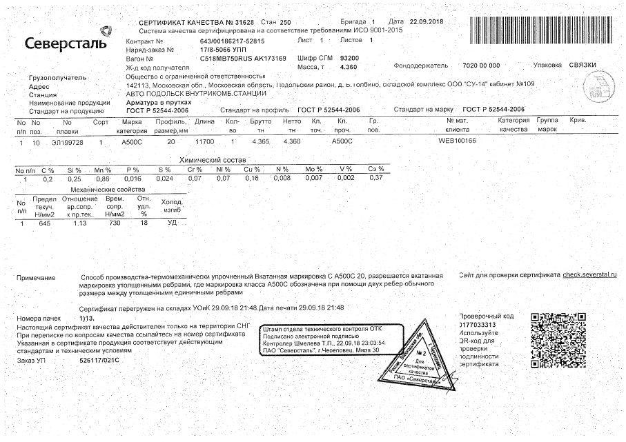 Арматура 20 а500с сертификат