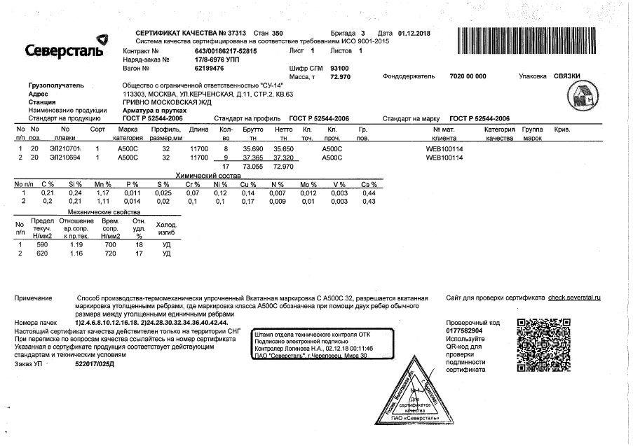 Арматура 32 а500с сертификат