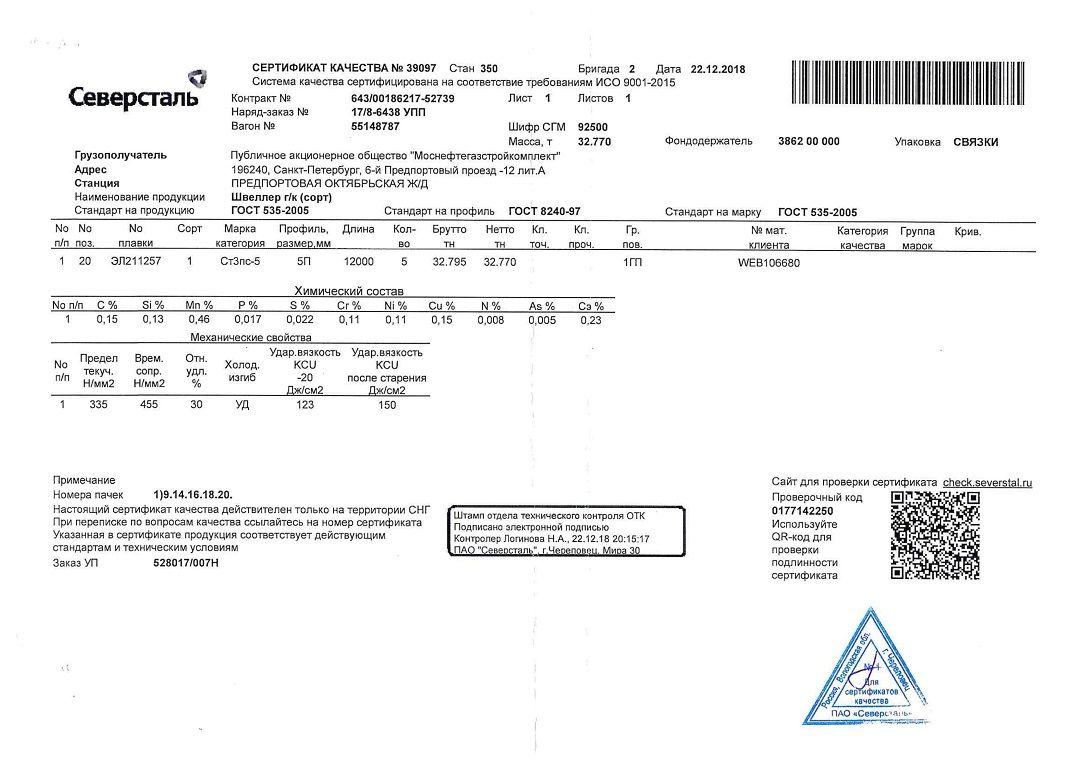 швеллер 5п сертификат качества