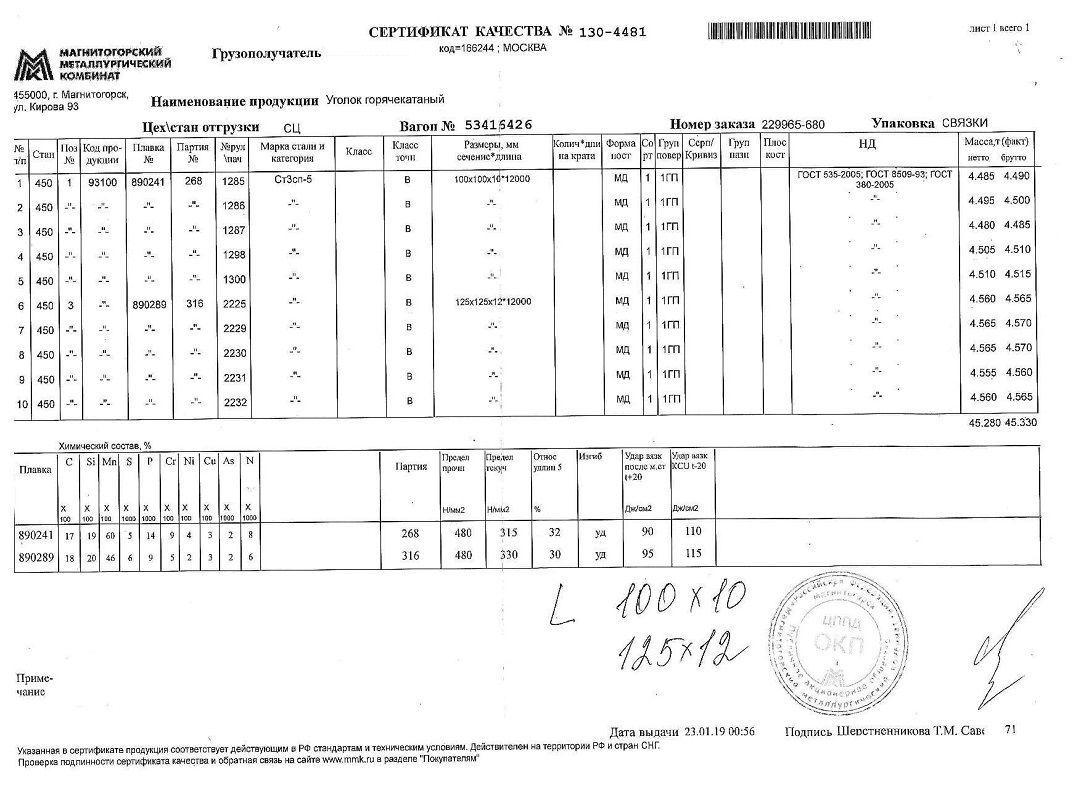Сертификат на уголок 100х100х10