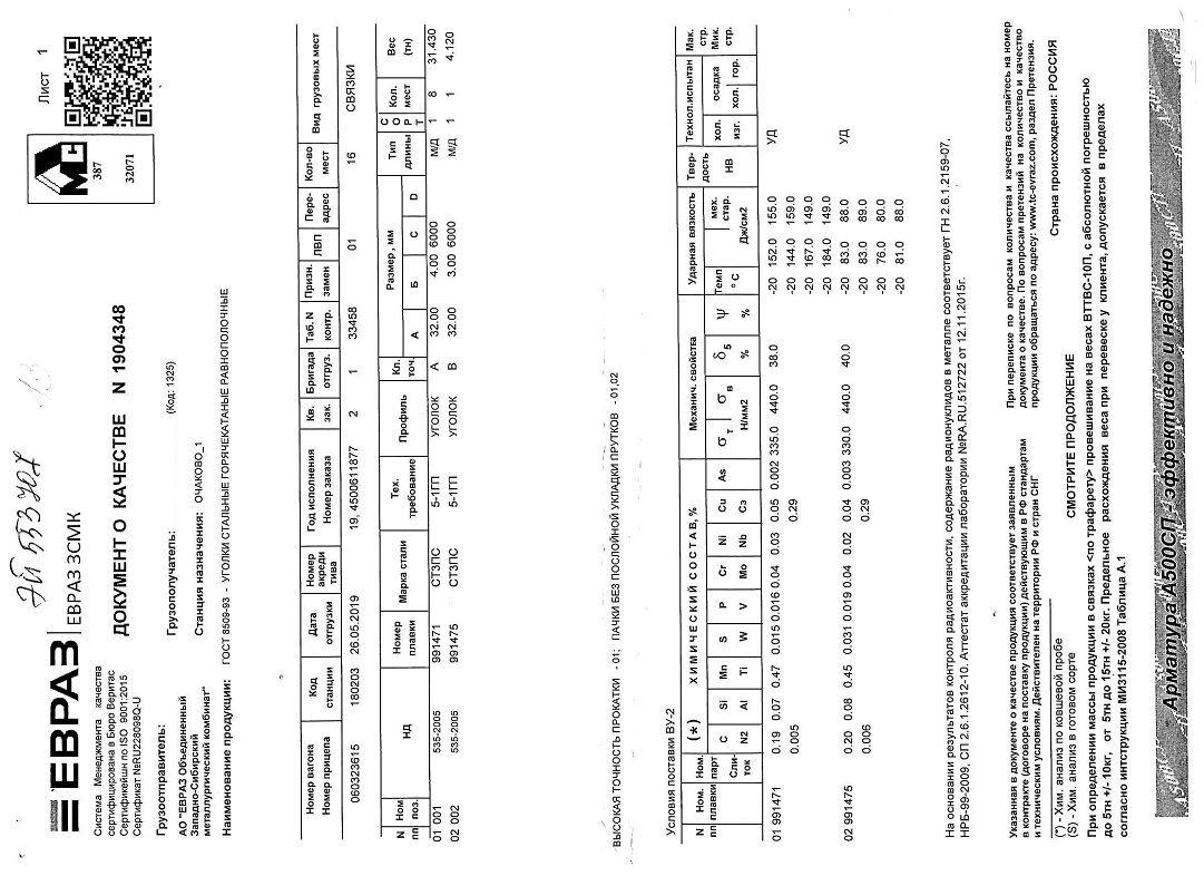 Сертификат на уголок 32х32х4