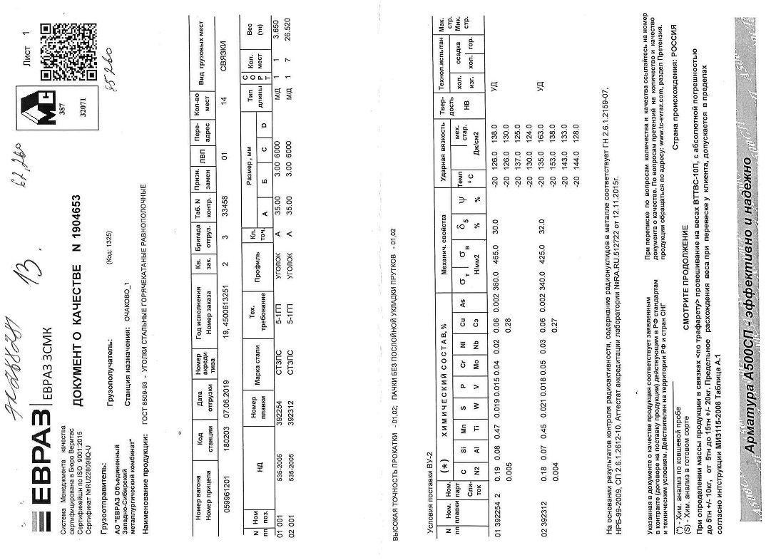 Сертификат на уголок 35х35х3
