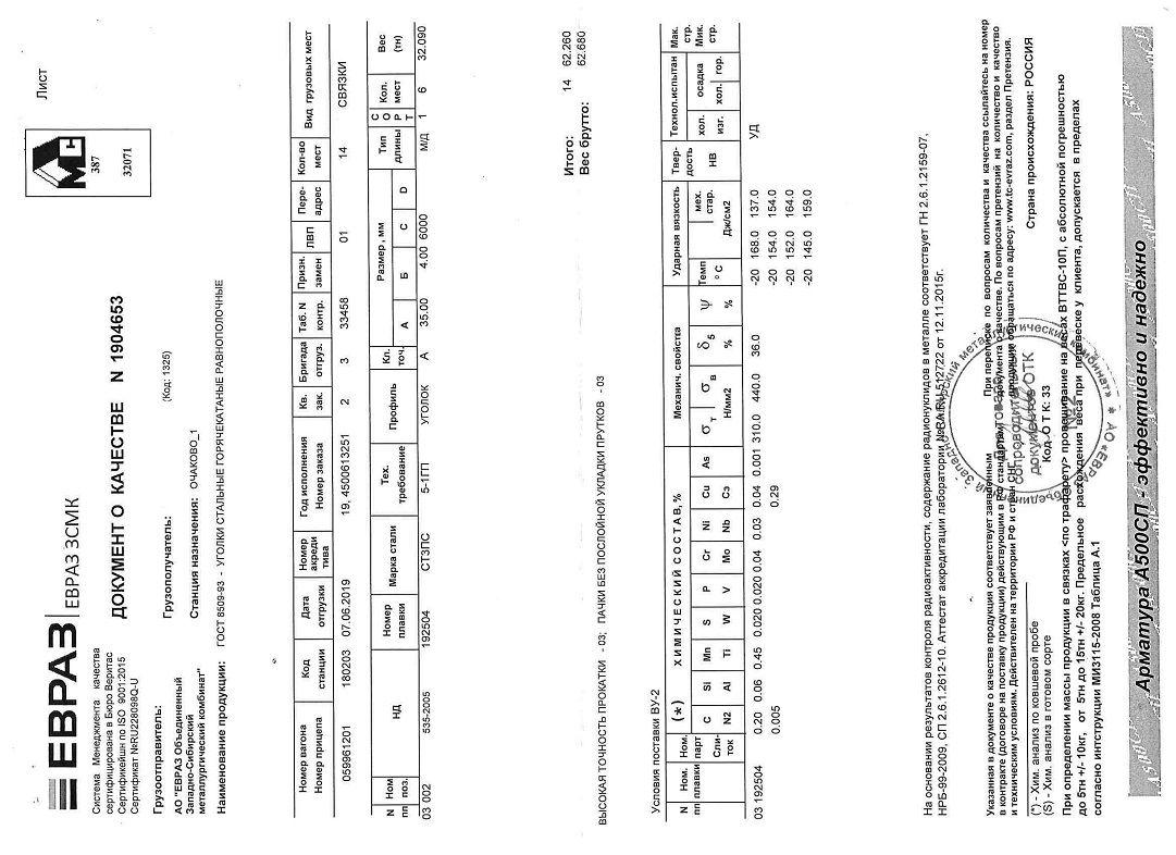 Сертификат на уголок 35х35х4