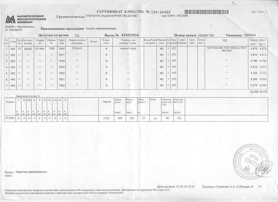 Сертификат на уголок 40х40х5 дл12м