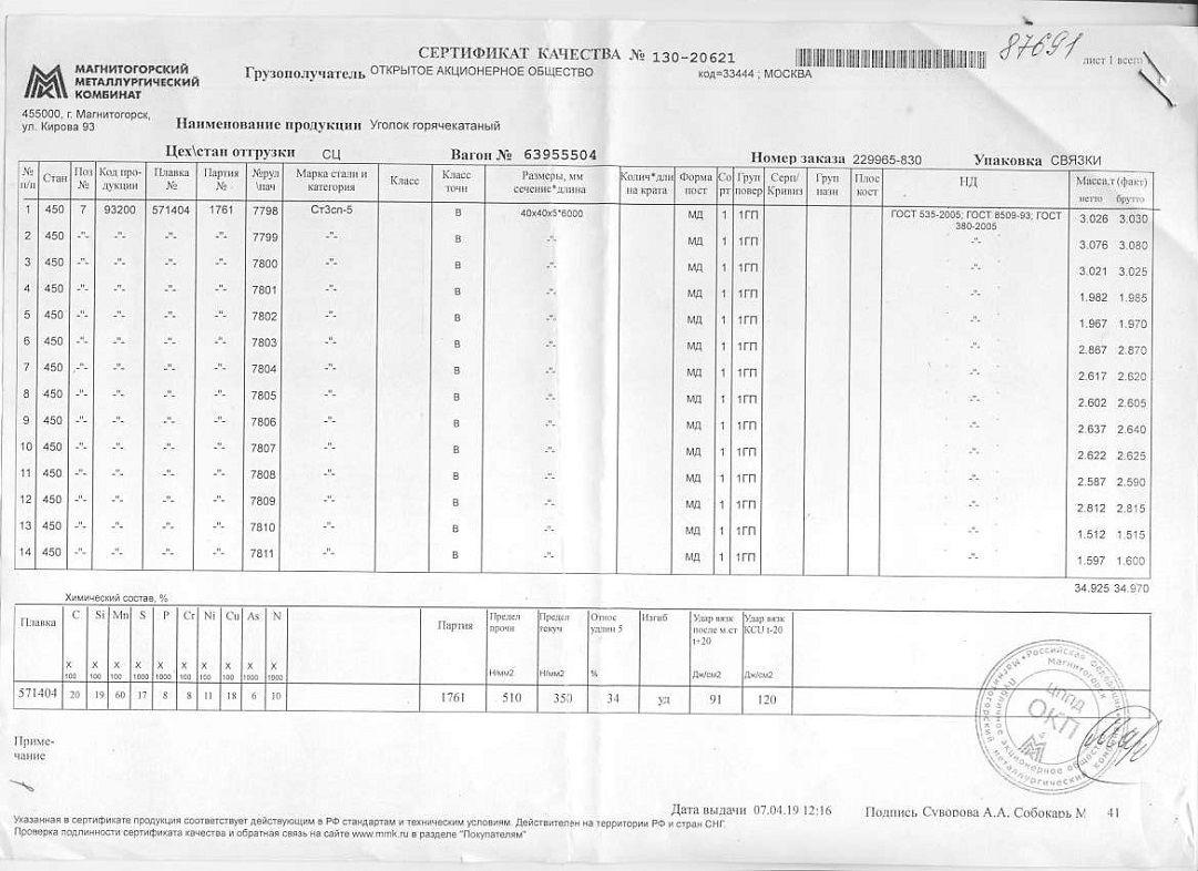 Сертификат на уголок 40х40х5 дл6м