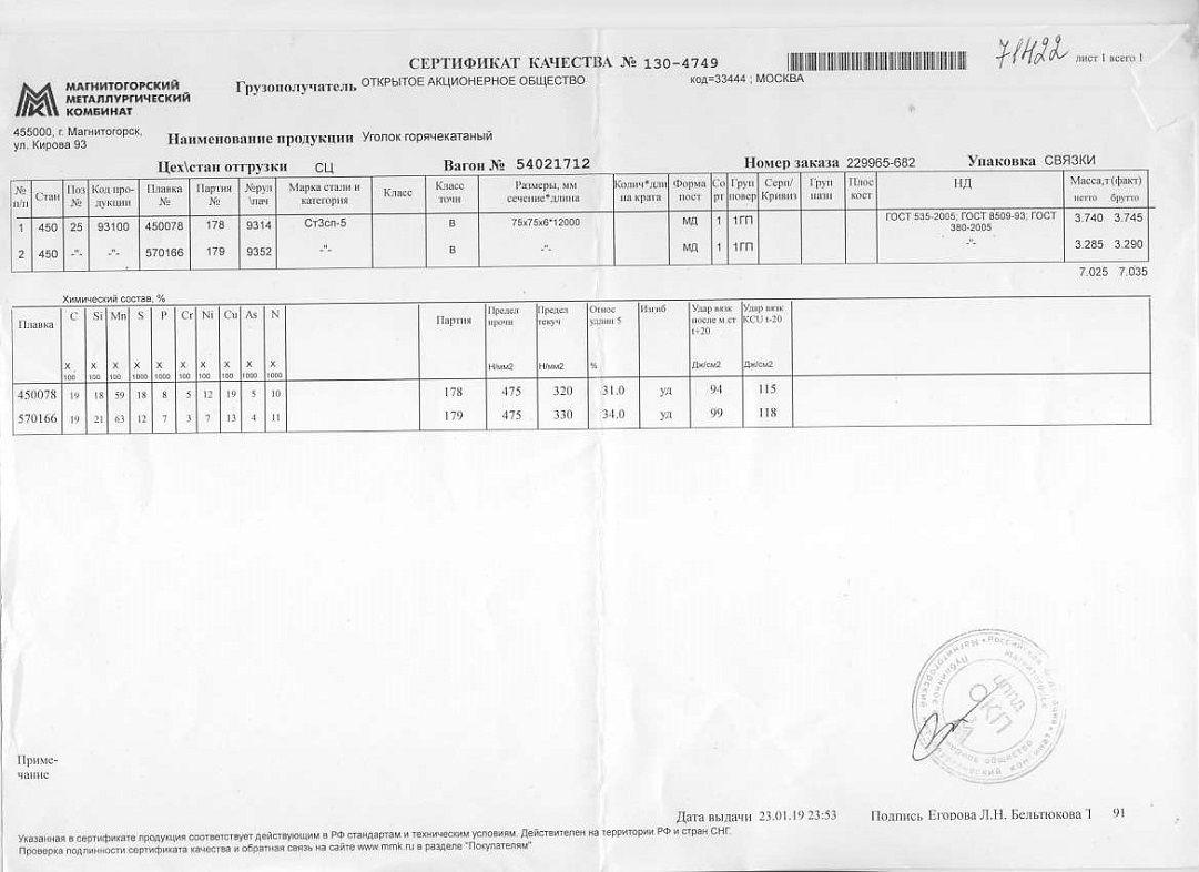 Сертификат на уголок 75х75х6