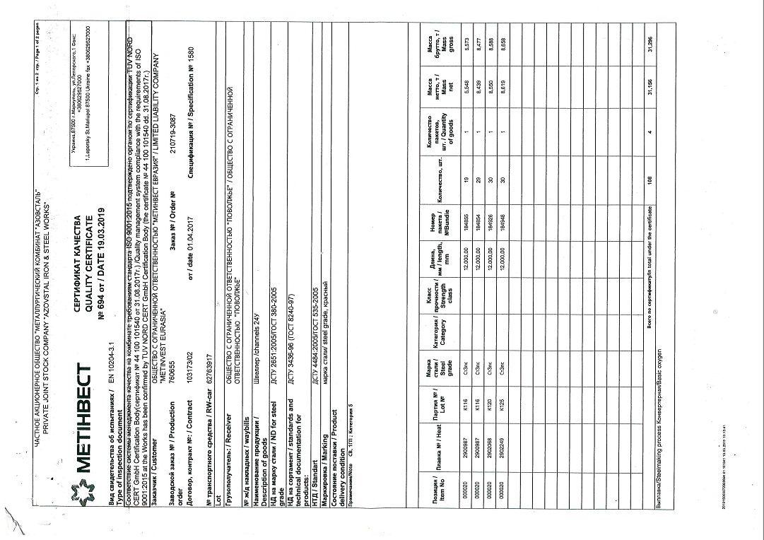 швеллер 24У сертификат