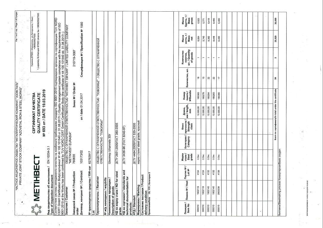 швеллер 30У сертификат