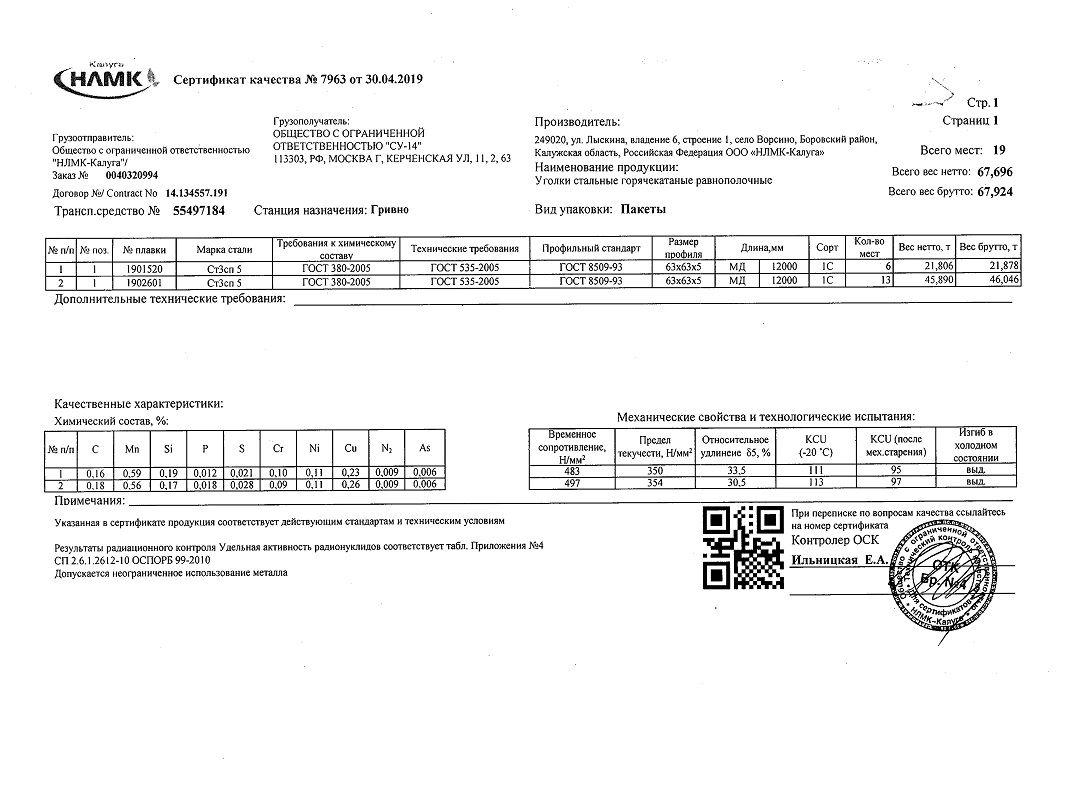 Сертификат на уголок 63х63х5
