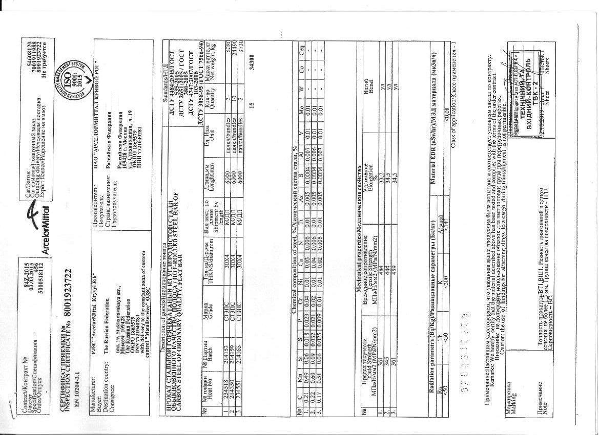 полоса 30x4 сертификат качества