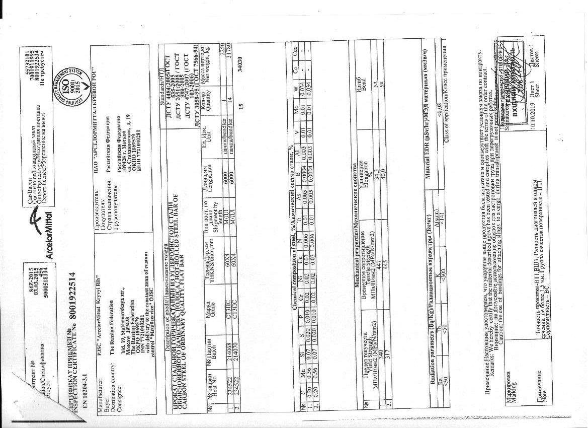 полоса 60x4 сертификат качества