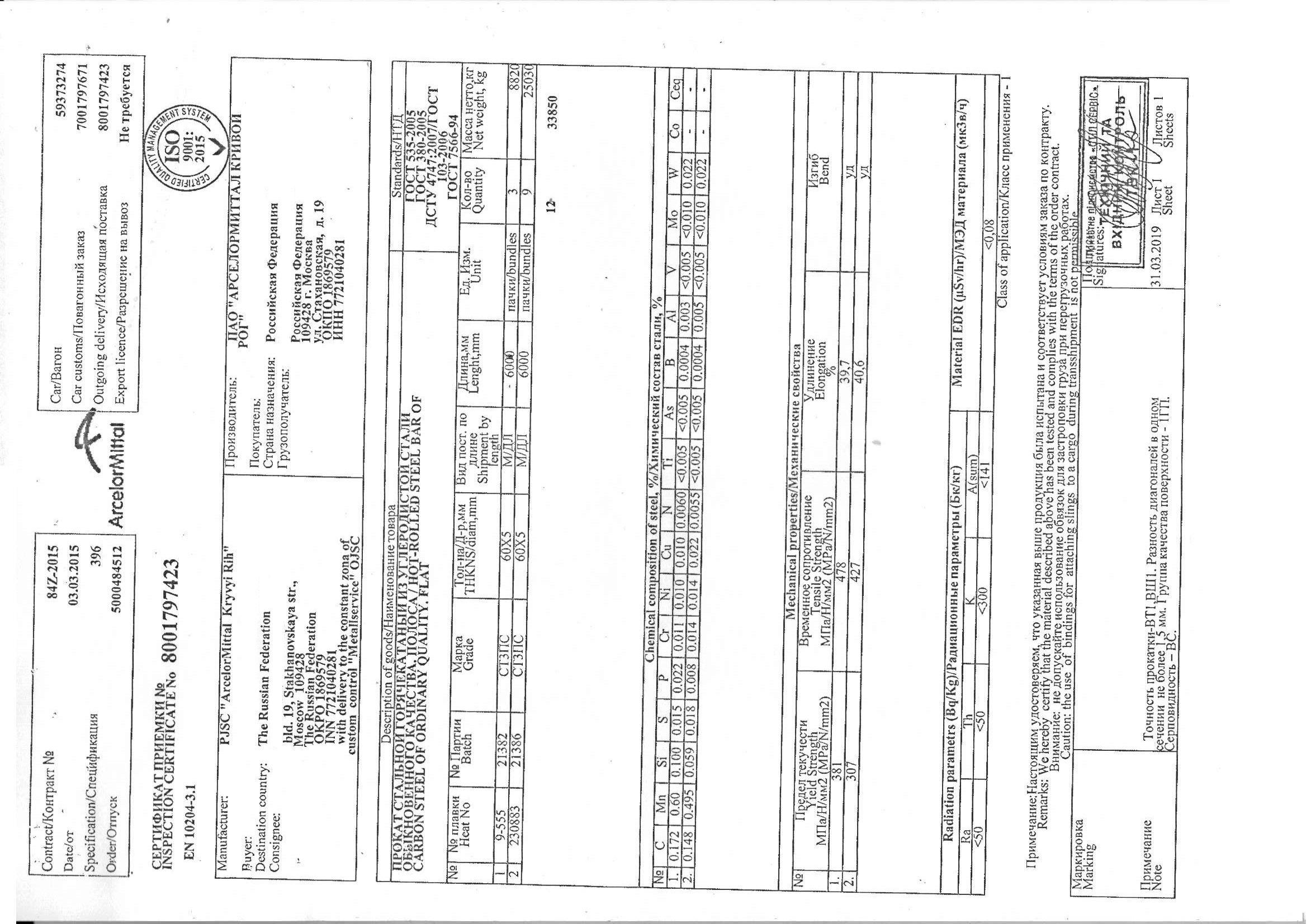 полоса 60x5 сертификат качества