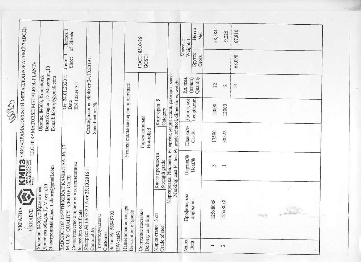Сертификат на уголок 125х80х8