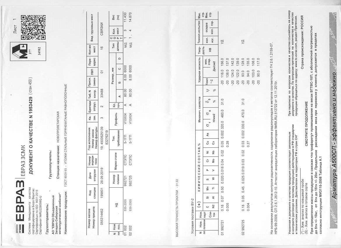 Сертификат на уголок 80x80x6